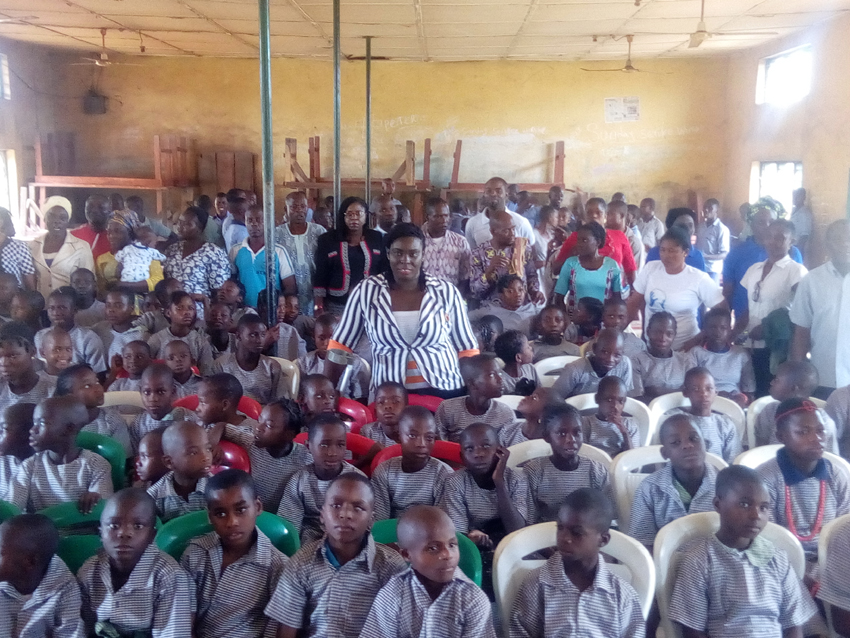 Folajogun Akinlami with the physically impaired kids